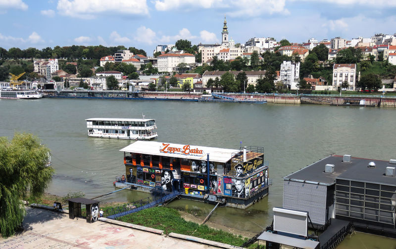 Belgrade, Serbia, July 01, 2018. Zappa Barka floating night club on the Sava river. Music Rock Architecture Building Exterior Built Structure City Cloud - Sky Day High Angle View Mode Of Transportation Musician Nature Nautical Vessel Nightclub No People Outdoors Passenger Craft Plant River Sky Transportation Water Zappa