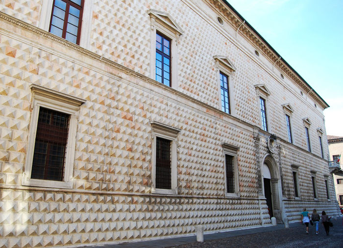 The Diamond Palace in Ferrara, Italy Diamonds Palace Ferrara Palazzo Dei Diamanti Built Structure Architecture Building Exterior Window Building Low Angle View Day No People City Outdoors Residential District Wall Sky Nature Brick Wall Street Brick Door Town House