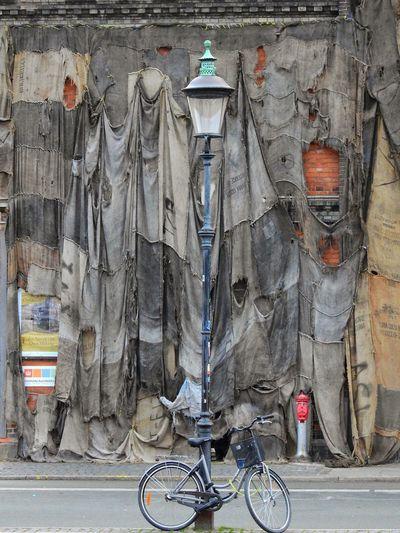 Art ArtWork City Bicycle Installation Lamppost Sackcloth Design Urban Copenhagen, Denmark