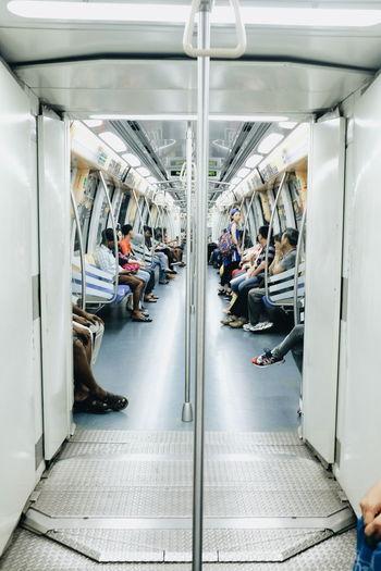Passengers traveling in metro train