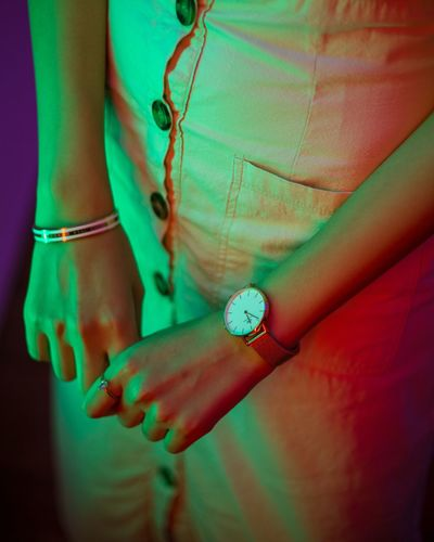 Wristwatch Girl Watch Neon Neon Lights Neon Colored Light Colors One Person Jewelry Human Hand Adult Human Body Part Indoors  Women Bracelet Hand Fashion Lifestyles