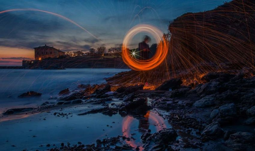 Long Exposure Travel Destinations City Outdoors Night No People Light Bulb Lifestyle Lightning Light Effect Light Painting Still Life Photograpy Sea Sea And Sky Seascape Ladispoli