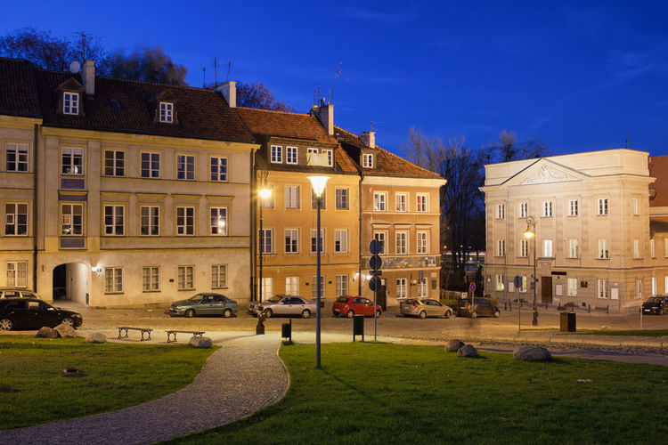 New Town (next to the Old Town) in Warsaw, Poland at night Arhitecture Houses Old Town Poland Residential  Warsaw Warszawa  Apartment Architecture Building Building Exterior Built Structure Capital City City Europe House New Town Night No People Residential Building Urban