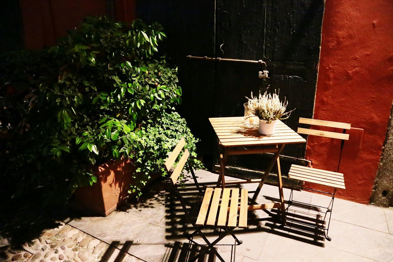 chair, table, potted plant, plant, no people, furniture, outdoors, seat, day, nature
