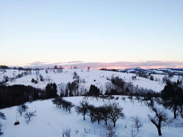 Sunset Cold Temperature Snow Forest Winter Sky No People Mountain Nature Outdoors Cloud - Sky Landscape Frozen Blue