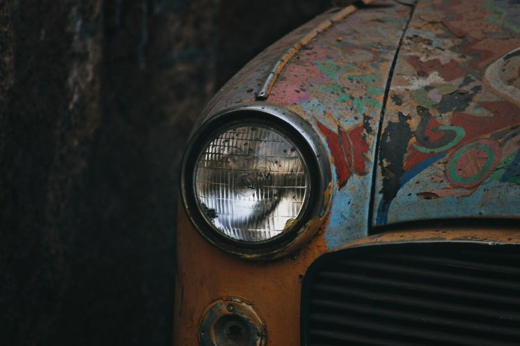 Close-up of abandoned car