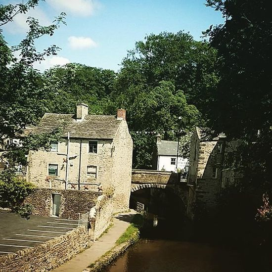 Canal Water Stone House Trees Sky Skipton
