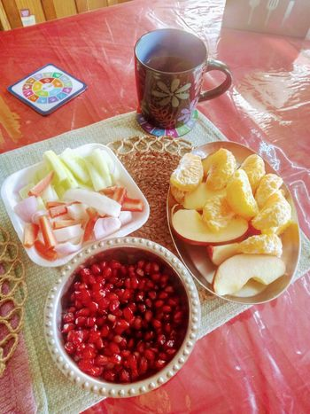 RED Sumptuous Healthy Eating Random Shot. Happiness Green Tea Decorated Mug Fruits And Salads Wintertime Oranges And Apples Pomegranates  Food And Drink Food Ready-to-eat Food Stories