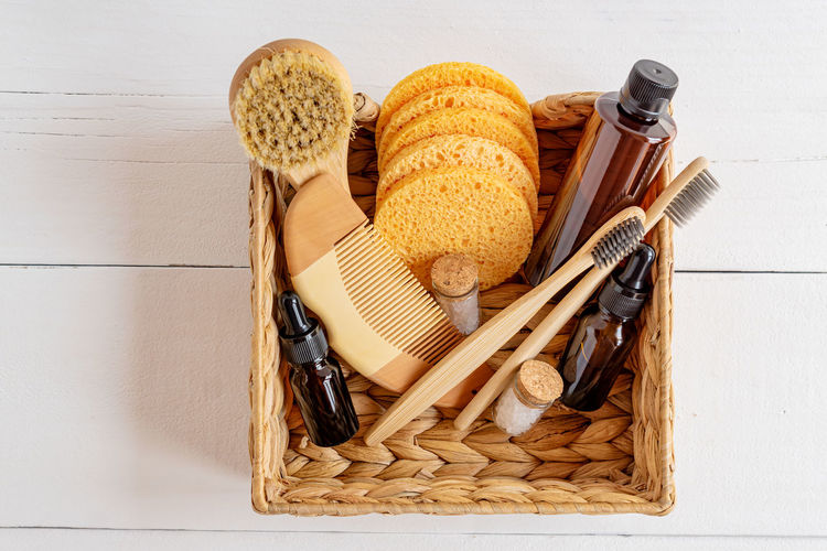 High angle view of bread in basket on table against wall