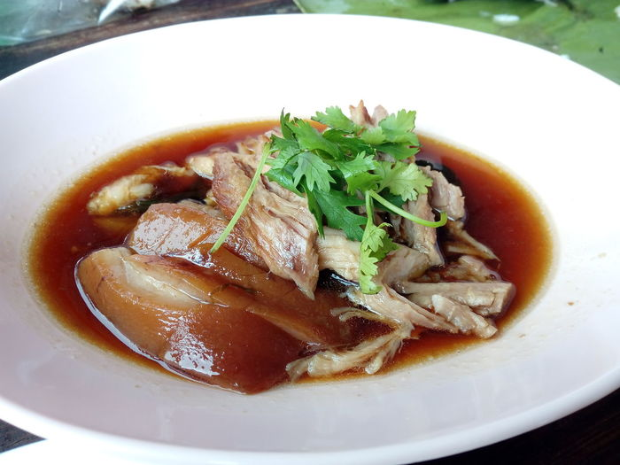 Stewed Pork Leg On Rice Pork Food And Drink Food Thailand Soup Close-up Food And Drink