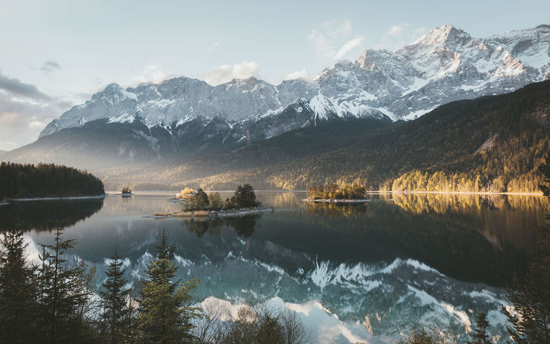 Crystal clear morning at lake eibsee in germany.