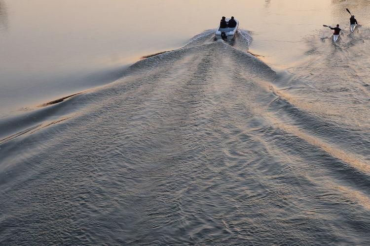 Man on sand against sky