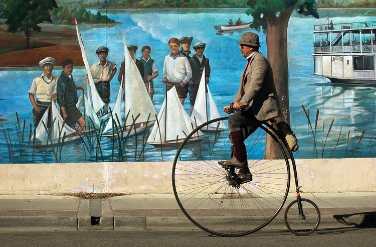 Bicycle Ride Nostalgia History Through The Lens  Mural Art Mural Old-fashioned Time To Reflect Movement Is Life