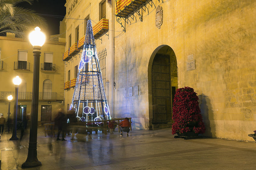Elche, Spain. December 18, 2017: Town Hall Square of the city of Elche, with Christmas decoration. Alacant Alicante Alicante Province Spain Christmas Elche Elx SPAIN Spanish Travel Architecture Building Exterior Built Structure Chrismas Lights Christmas Decoration Christmas Ornament Day Illuminated Indoors  No People Travel Destinations