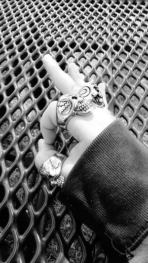 Hand Skull Rings Blackandwhite Blackandwhite Photography Black And White Collection  Silver - Metal Fingers Pattern High Angle View Fashion Close-up Jewelry