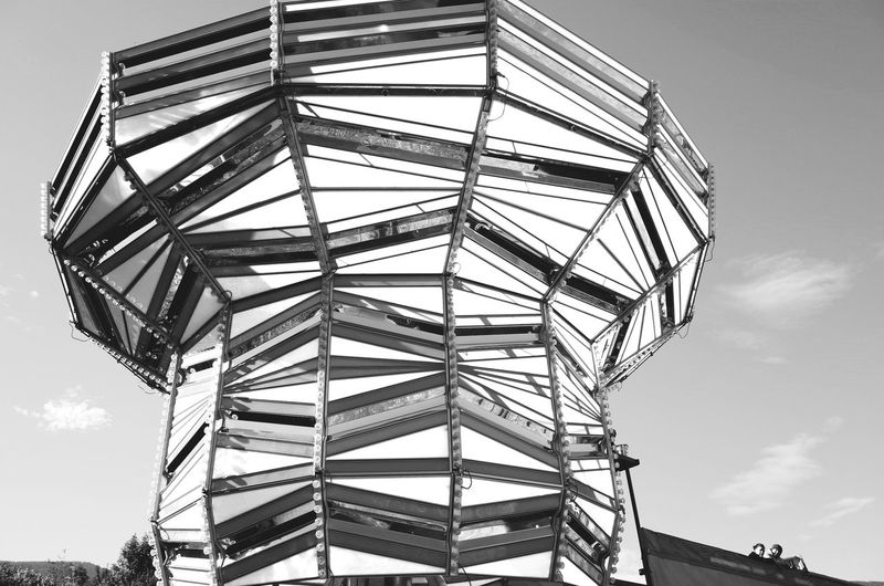 Amusementpark Architecture Built Structure Circus Clear Sky Cropped Dramatic Angles Geometric Shape Large Low Angle View Modern No People Outdoors Sky Tall - High Tower Monochrome Photography