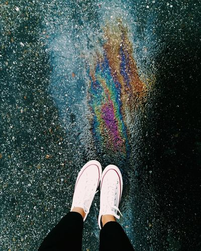 Standing Personal Perspective Multi Colored Oil Spill Directly Above Outdoors Light Game Rainy Day From My Point Of View From Above  Floor Madrid The Week On EyeEm