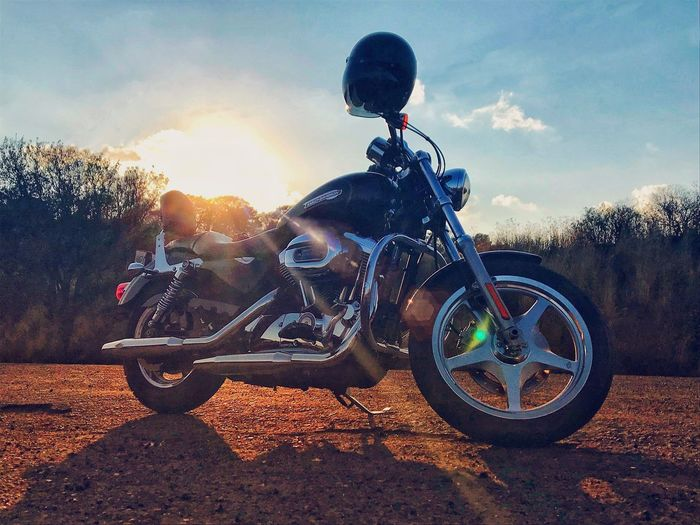 Harley Davidson Life HarleyDavidsons HarleyDavidsonMotorcycles Transportation Motorcycle Sky Mode Of Transport Land Vehicle Cloud - Sky Sunset Outdoors Landscape Field No People Nature First Eyeem Photo EyeEmNewHere