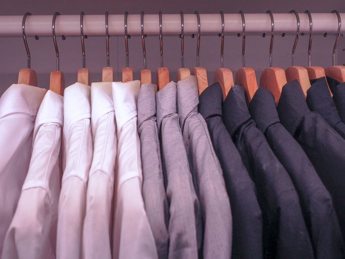 Close-up of clothes hanging on coathanger