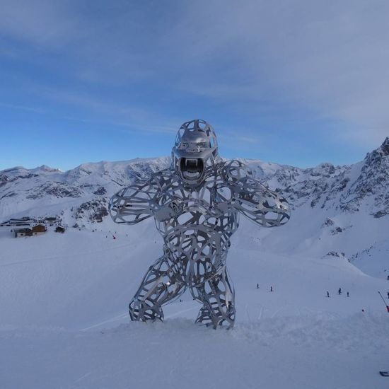 Affenstark Meribel France🇫🇷 Travel Destinations Skiing ValThorens  Les3vallées Winter Architecture Sculpture Gorilla Protection Security Adult One Person Human Body Part Cold Temperature Sky Futuristic