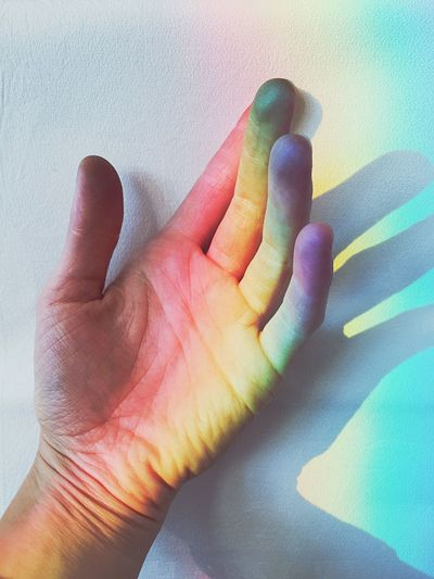 Rainbow hand Minimal Human Body Part Human Hand Fingers Palm Rainbow Rainbow Colors Happiness Colorful White Background Light Hand Colors Close-up Conceptual See The Light AI Now This Is Queer Inner Power Capture Tomorrow