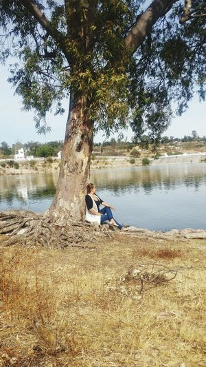 Nature Day Water Beach Tree Outdoors Tranquility Sitting Scenics Lake Beauty In Nature
