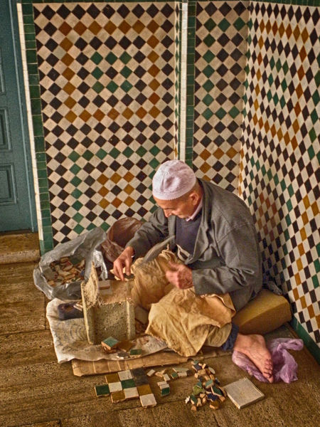 CASA BLANCA MAROCCO Craftsman Working Day Hat Looking Down Old Man People Seated Senior Adult Tiles Working