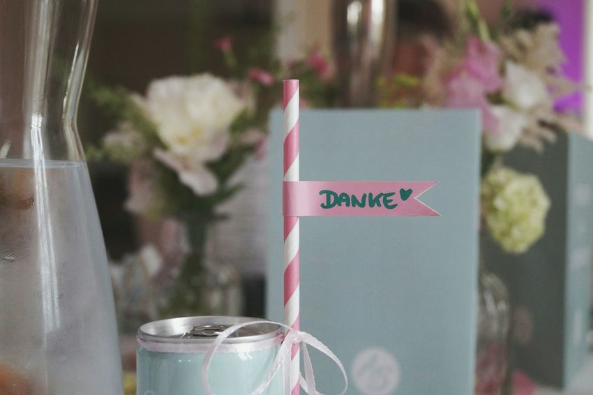 Thank you Thank You On The Table Table Decoration Typography Letters Glass Of Water Pink And White Stripes Pattern Pastel Colors Drinking Straw Cold Water Wedding Summer Wedding  Flowers On Table Menu Party Vase EyeEm Best Shots No People Full Frame Drink White Ribbons Happy Day Little Flags Stories From The City