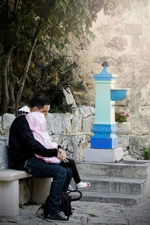 Blue Well Casual Clothing Communication Croatia ❤ Father And Daughter Love ❤️ Father And Daughter Time Fatherhood Moments Let's Have A Rest Outdoors Real People Sitting Sitting On A Bench Street Well Time Stands Still Time Together Well  Moscenicka Draga, Croatia Miles Away