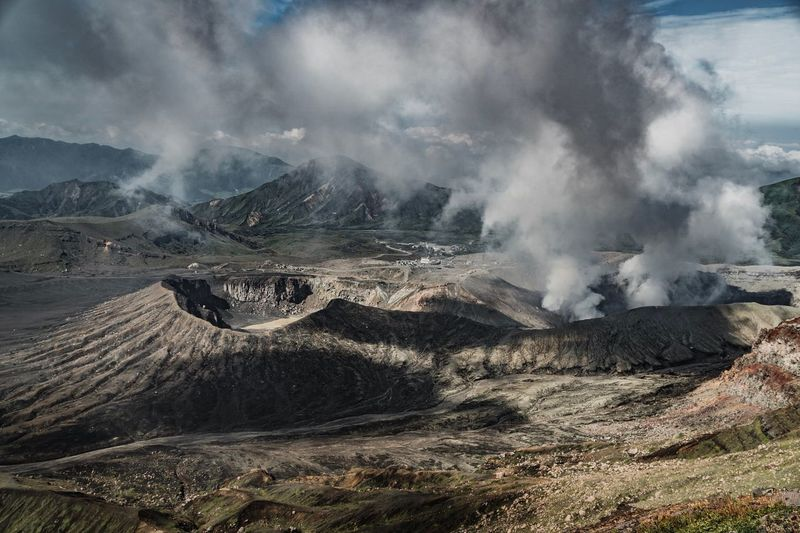 Volcano Japan Aso Kumamoto Mountain Environment Landscape Non-urban Scene No People Nature Land Motion Outdoors Smoke - Physical Structure Sky Physical Geography Scenics - Nature Heat - Temperature Power In Nature Day Smoke Beauty In Nature Geology Power