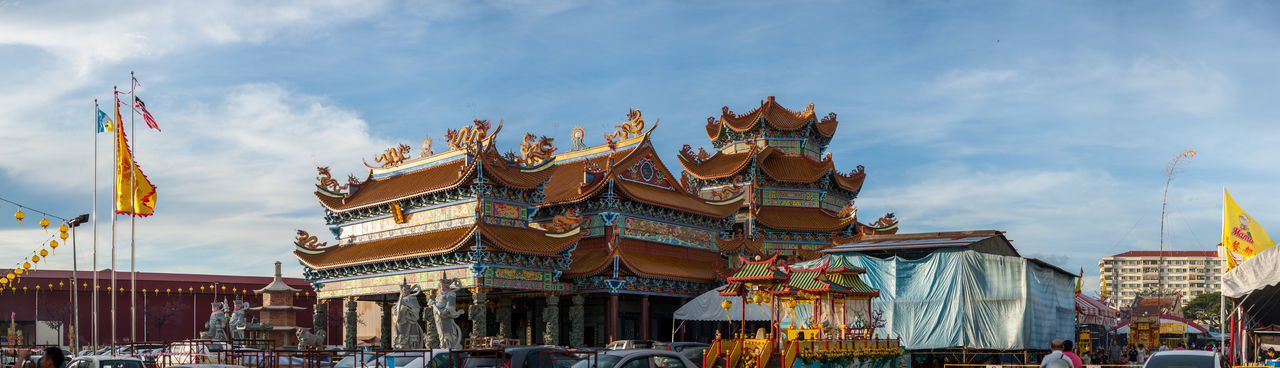 Penang Nine Emperor God Temple Cloud - Sky Architecture Sky Building Exterior Built Structure Religion Belief Nature Place Of Worship Day Travel Destinations Building City Spirituality Low Angle View Outdoors Festival