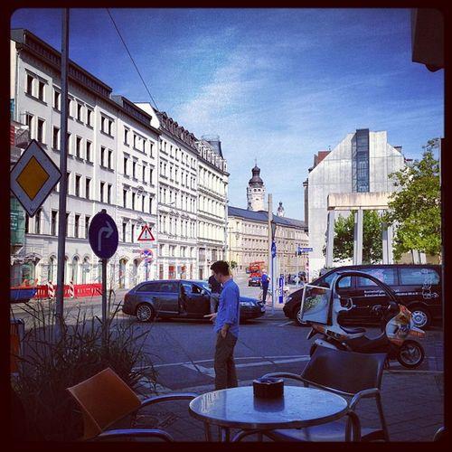 Frühstück in Leipzig vor der Heimfahrt.