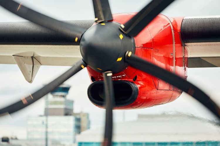 Close-up of red airplane
