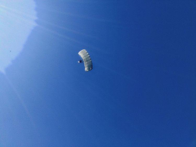 Hot Air Balloon Parachute Flying Blue Mid-air Sky Architecture