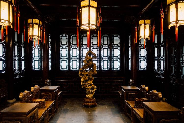 Yu Garden... Natural Beauty Stone Sculpture Indoors  Architecture Window Built Structure No People Lighting Equipment Illuminated Building Place Of Worship Belief Sculpture Representation History Ornate The Past