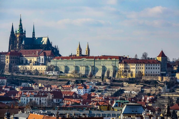 The Prague Castle Hradschin AMP PICTURES Architecture Building Exterior Built Structure City Cityscape Sky Religion Travel Destinations Cloud - Sky Tourism Spirituality Outdoors City Life Day Town No People Nature