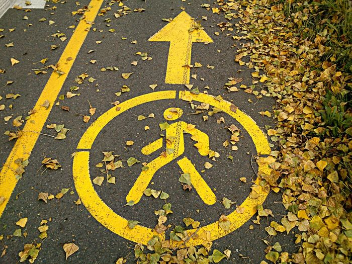 Autumn Road Footpath Footpath Sign Human Body Symbol Looking Down Outdoors Pedestrian Pedestrian Lane Sign On The Asphalt Ground Pedestrian Only Pedestrian Path Sign Pedestrian Sign Pedestrian Sign On Asphalt Pedestrian Walk Sign Road Sign Sidewalk Sign Yellow Yellow Pedestrian Sign On The Asphalt Yellow Sign