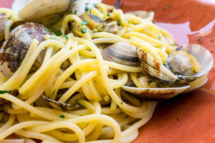 Close-up of spaghetti with clams served in plate