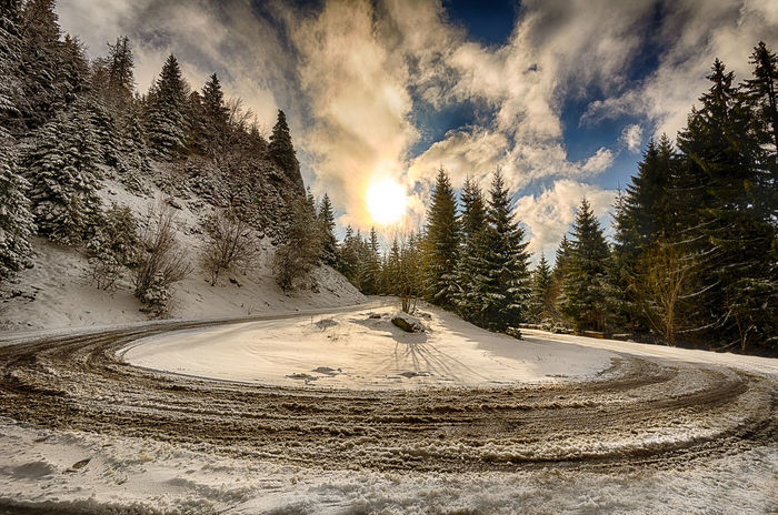 Sunrise Beauty In Nature Cloud - Sky Cloudy Cold Temperature Landscape Nature Road Scenics Season  Sky Snow Sun Sunlight The Way Forward Tranquil Scene Tranquility Transportation Tree Weather Winter