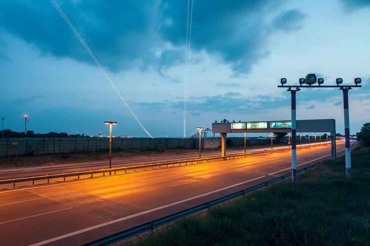 Street light over empty road
