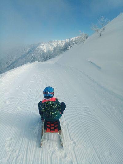 White Sledge Ride Sledge Ride Sledge Slope Boy Snow Winter Rural Scene Sky Landscape