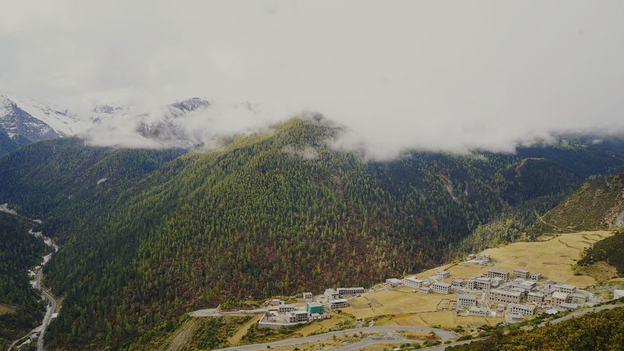High angle view of yading village from sichuan province