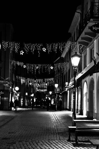 Christmas Lights Christmastime Street Lights Black And White Blackandwhite Street Streetphotography