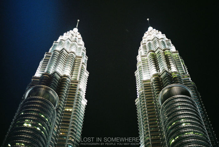 Night No People Low Angle View Black Background Sky Malaysia Cityscape Built Structure City Building Exterior Architecture Pitronas