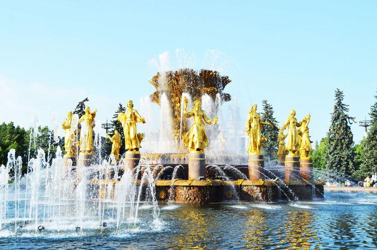 Day Fountain No People Outdoors Palm Tree Splashing Spraying Tree Water