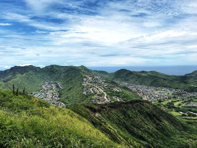 View from the peak City Photography Photo Ocean Oahu Hawaii Outdoors Cloud - Sky Plant Sky Beauty In Nature Nature Scenics - Nature Growth Tranquility Day Land Environment Landscape Green Color Tranquil Scene No People Field Agriculture Tree Rural Scene Outdoors