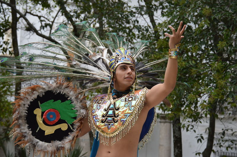 Young Man Wearing Costume Gesturing Against Trees