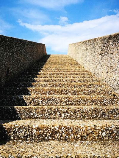 Way to heaven EyeEm Best Shots EyeEm Gallery EyeEm Selects EyeEmBestPics Stairs Stairway Sky Stone - Object Stone Wall Rock - Object Stone Material Triangle