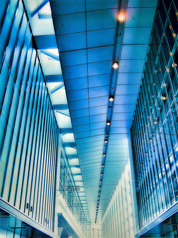 Architecture Blue Blue Color Building Built Structure Ceiling Day Futuristic Illuminated Indoors  Low Angle View Modern No People