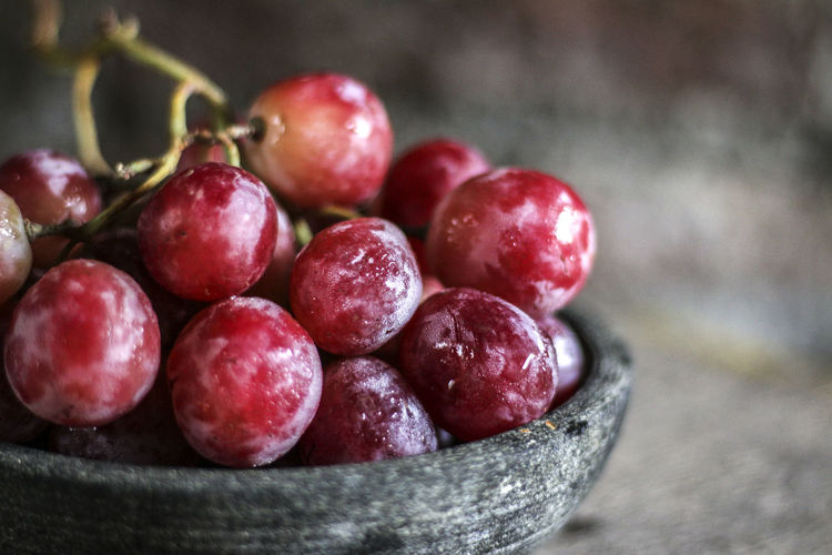 Close-Up Of Red Grapes In Bowl